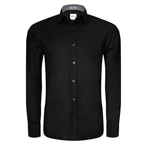 Signum 1/1 Nos Plus REG Camisa, Negro, Tamaño del Collar: 44 cm (Talla del Fabricante: Large) para Hombre