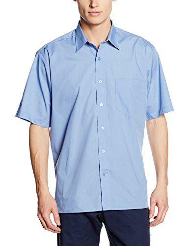 Premier Workwear Poplin Short Sleeve Shirt Camisa, Azul (Mid Blue), X-Small para Hombre