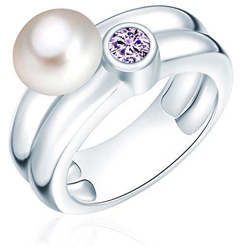 Valero Pearls - Anillo embellecido con Perlas de agua dulce - 925 Plata esterlina - Pearl Jewellery, Anillo con Zirconia - complementos de mujer - En diferentes tamaños - 60925032