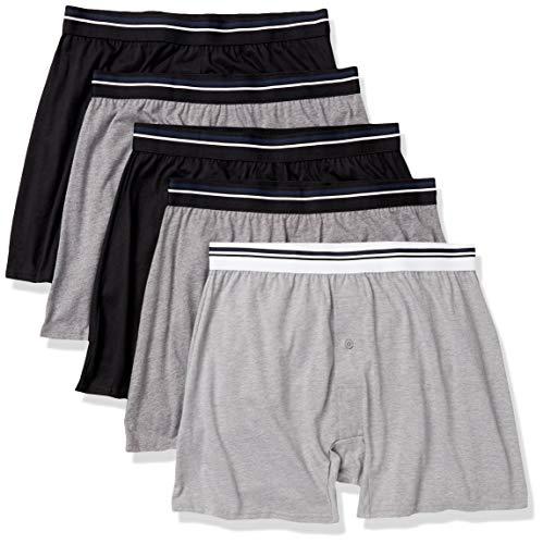 Amazon Essentials Pack de 5 Calzoncillos de Punto Boxer-Shorts, Negro/Carbón/Gris Heather, US XS (EU XS)
