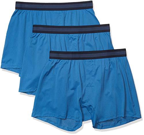 Goodthreads 3-Pack Lightweight Performance Knit Boxer Shorts, Azul Sea, S, Pack de 3