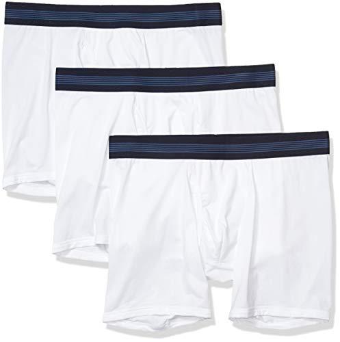 Goodthreads 3-Pack Lightweight Performance Knit Boxer Brief Briefs, Blanco Brillante, M