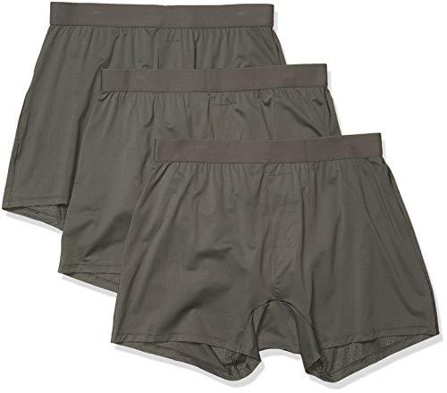 Goodthreads 3-Pack Lightweight Performance Knit Boxer Shorts, Gris Oscuro, S, Pack de 3