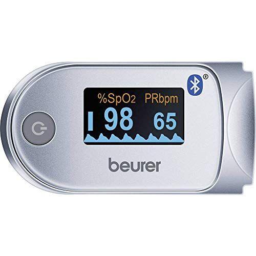Beurer PO 60 BT Pulsioxímetro de Dedo con Bluetooth, Color Blanco y Plata, 58.5 x 30 x 33 mm, 49 g