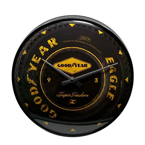 ART Nostalgic-Art, Reloj Retro de Pared, Goodyear Wheel  Regalo para los Fans de los Coches y Las Motos, Gran decoración, Diseño Vintage,  31 cm