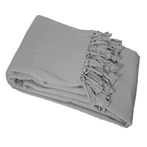 Nuances Du Monde Coton tisse Lana Gris Manta, 150x 150cm