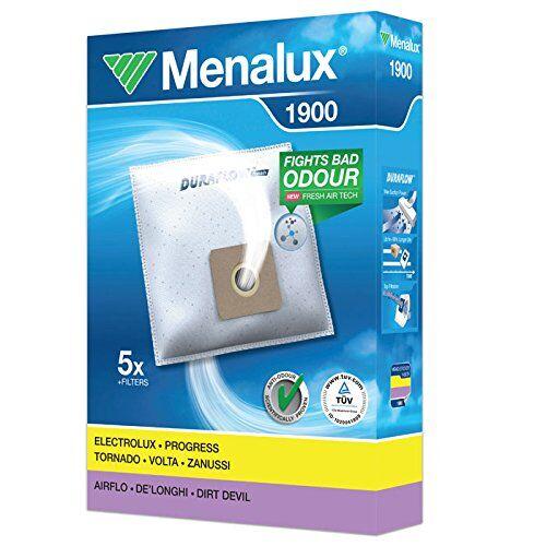 Menalux 1900 - Pack de 5 bolsas y 2 filtros para aspiradoras Ariete Diablo, Fagor VCE2000, Taurus Panamera y Ufesa Activa, Power S y Ionic