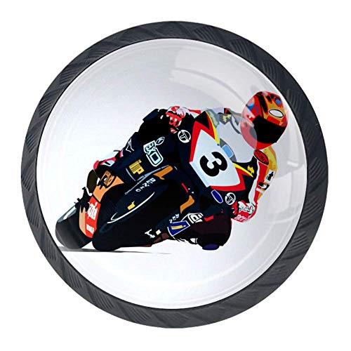 Z&Q Perillas de gabinete, paquete de 4 Coche de carreras de motos de dibujos animados Perillas de vestuario Perillas de tocador en forma de joyero Paquete de 4 3.52.8CM