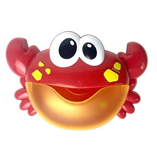 Fossrn Juguete Baño Bebe, Burbuja Máquina Automático Máquina sopladora de Burbujas Juguete de baño de música para bebé (Cangrejo 01)