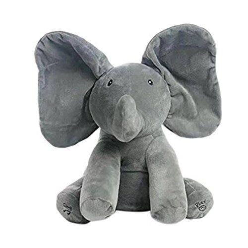 Morbuy Juguete de Peluche para bebé Peek-a-Boo Elefante, Juego de Ocultar y Buscar Muñeca de Peluche Animada de Elefante Felpa para bebé - -Regalo para muñecas para bebé / niños(Gris)