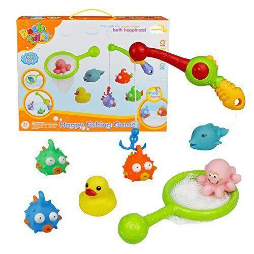 yoptote Bebe Juguetes Baño Juguetes de Pesca Juego de Agua Baño Juguete Infantil para Niños Niñas con 8 PCS