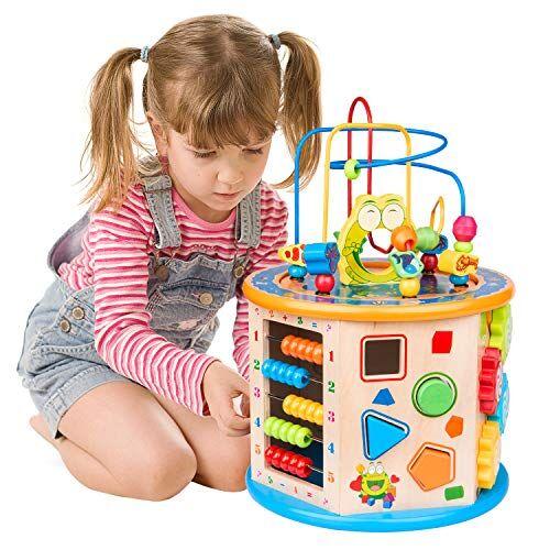 WloveTravel Juguetes Bebe, 8 en 1 Cubo de Actividades,Madera Cubo con Cuentas Laberinto Juguete Educativo Multiusos para niños bebés Niños pequeños Edad 3 4 5 6 7+ años de