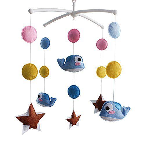 Black Temptation Juguete para bebé, Móvil musical, Campana colgante con decoración de cuna linda, Tipo pez, B06