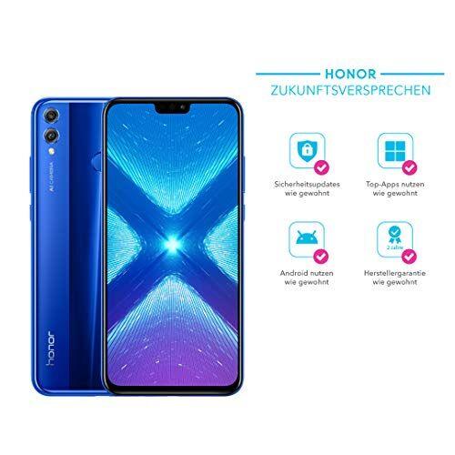 Honor 8x Smartphone (16,5cm (6,5Pulgadas) FHD + Display, cámara Dual, Dual SIM, Huella Dactilar, Android 8.1) + Gratis PU Flip Protective Cover