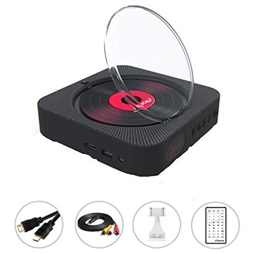 LUCKYFF Reproductor de DVD CD portátil, Reproductor de música y películas Bluetooth con HDMI, Altavoces de Alta fidelidad, Radio FM USB MP3,Conector para Auriculares de 3.5 mm,Regalos para el hogar