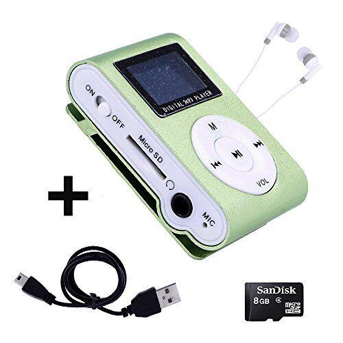 Electrónica Rey Mini Reproductor MP3 con Pantalla LCD y Enganche de Clip + Tarjeta de 8Gb + Cable de Carga + Auricular Blanco, Music Player Verde, Electrónica Rey®