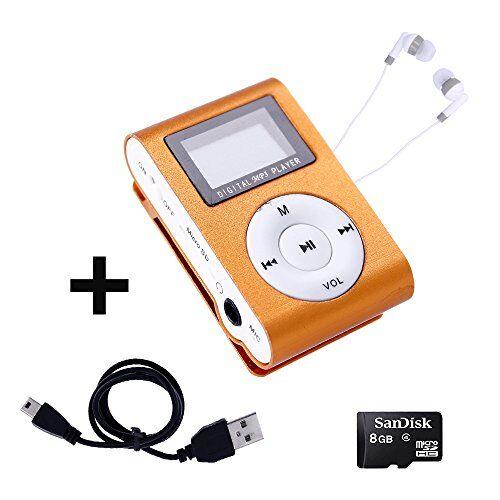 Electrónica Rey Mini Reproductor MP3 con Pantalla LCD y Enganche de Clip + Tarjeta de 8Gb + Cable de Carga + Auricular Blanco, Music Player Naranja, Electrónica Rey®