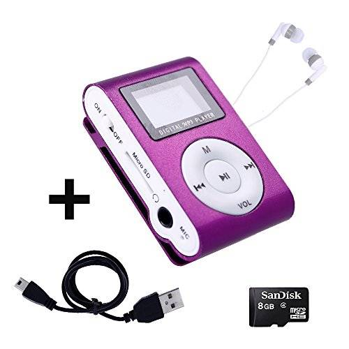 Electrónica Rey Mini Reproductor MP3 con Pantalla LCD y Enganche de Clip + Tarjeta de 8Gb + Cable de Carga + Auricular Blanco, Music Player Lila, Electrónica Rey®