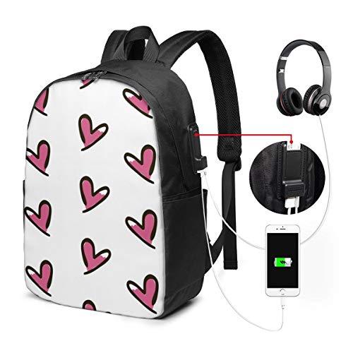 Funny Z Mochila para Computadora Portátil de Viaje Cute Hearts Doodle Mochilas de Negocios Informáticos con Puerto de Carga USB Mochila Escolar Unisex Mochila de Senderismo Informal