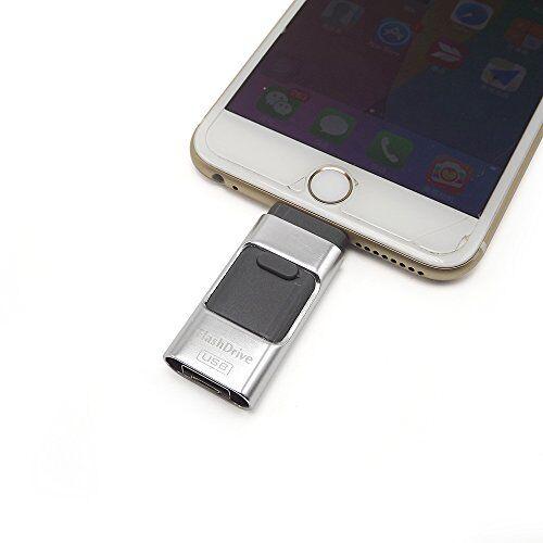 E-MART eMart iPhone de 32 GB USB Flash Drive 3 en 1 IOS de Eexpansión de Memoria i-Flash Drive Pendrive por iPhone y iPad, Telefono Cellulare Android e Informática -Plata