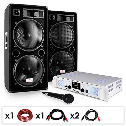 Electronic-Star Equipo PA DJ-21 - Amplificador, Altavoces, micrófono 2000W