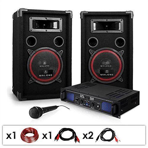 Electronic-Star DJ-14 Equipo de Sonido Profesional PA 500W (Amplificador Potencia 500W, 2 Altavoces 2X 200W RMS, micrófono dinámico, Cable Altavoz, RCA, Adaptador Jack)