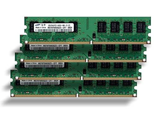 Samsung 8 GB 4 x 2 GB memoria RAM 800 mhz Pc2-6400 M378T5663QZ3 - CF7 de doble cara para DDR2 800 mhz sistemas informáticos, 100% compatible a 667 mhz