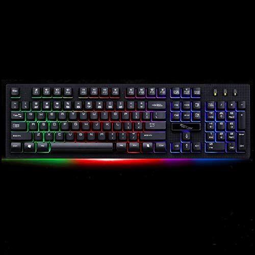 Jualuliouyonbg Periféricos informáticos ZGB G20 104 Teclas USB con Cable Mecánico RGB Contraluz Ordenador Teclado for Juegos Teclado Teclados de computadora (Color : Black)