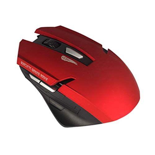 WWVAVA Periféricos informáticos Ratón inalámbrico para Juegos de 2,4 GHz Alfombrilla de ratón para Juegos Gamer con Mouse, Rojo