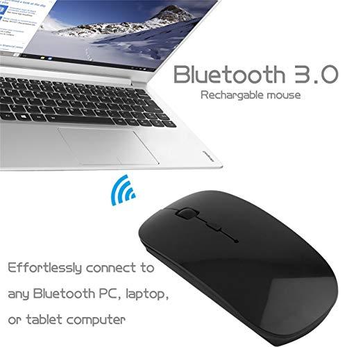 Dailyinshop Ratón inalámbrico Recargable portátil Universal Blanco y Negro de Bluetooth 3.0 para Las PC de la computadora portátil Ratón informático VML-09