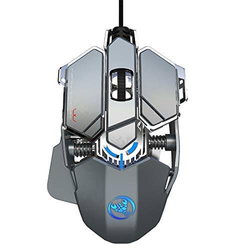 Jualuliouyonbg Productos informáticos J600 9 Teclas programables con Cable ratón mecánico E-Sports con Luz Productos de Teclado y Ratones (Color : Silver Grey)