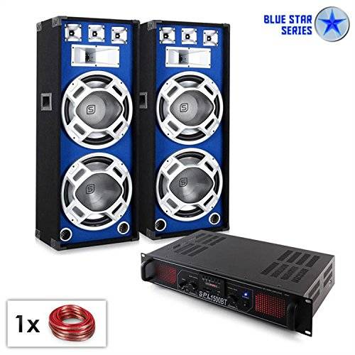 Electronic-Star Electronic star Pack Sonido PA Blue Star Beatbass Altavoz Amplificador (1500W,Bluetooth, USB, MP3 subwoofer)