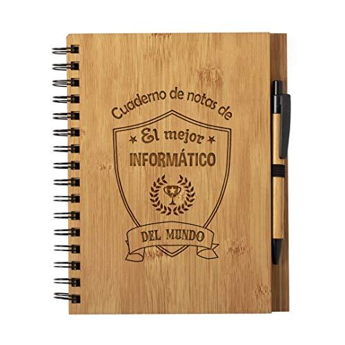 Planetacase Cuaderno de Notas el Mejor informatico del Mundo - Libreta de Madera Natural con Boligrafo Regalo Original Tamaño A5