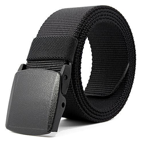 "Kusun Negro Correa Nylon Transpirable Hombres Impermeable De Deportes Cinturones Al Aire Libre Estilo Militar Complemento YKK Ajustable 49,2"" BE058-B1"