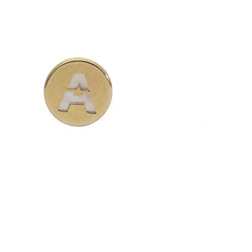 Minoplata Pendiente con cualquier inicial de Oro de 18 Kl y nácar 6 Mm (1 Pendiente/Medio par) un diseño de moda ideal para una mujer que adora los complementos