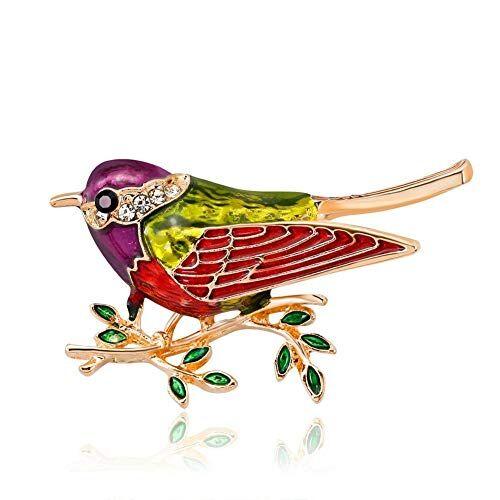 DDLKK Animal Lark Bird Brooch Pins Esmalte Pin Aleación Chapado Rhinestone Diamante Colorido Diamante Joyas pintadas Mujeres Mujeres Moda Joyería Broche Pins para Ropa, A