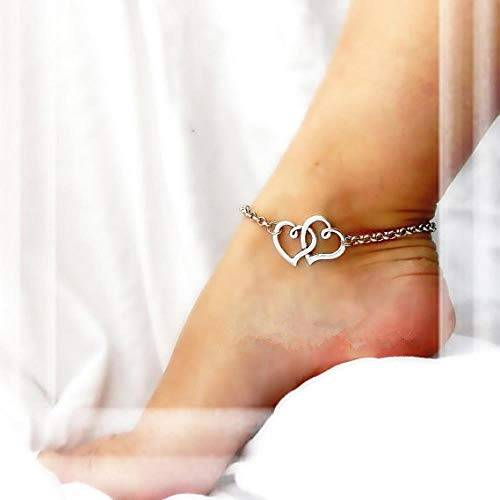 GAOTIAN Joyería Street Retro Fashion Hearts Double Heart Tobillera Calzado en Forma de corazón