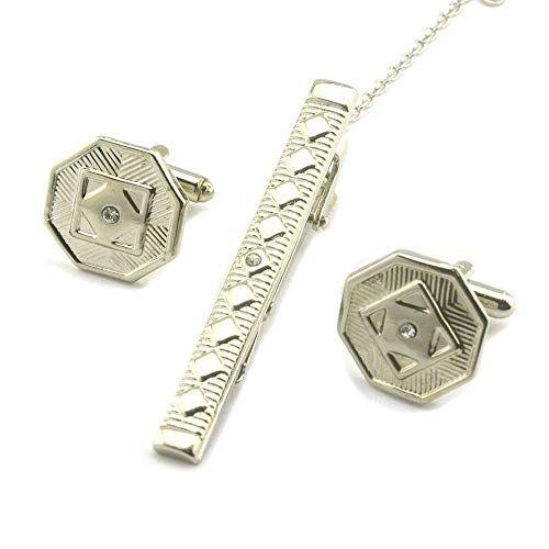 fgurtu Gemelos, Gemelos, complementos Camisa de Regalos de Boda de los Hombres de Negocios de Moda de Gama Alta Gemelos de Diamantes hexagonales Atar Juego de Pinzas