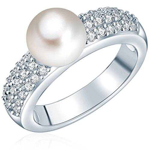 Valero Pearls - Anillo embellecido con Perlas de agua dulce - 925 Plata esterlina - Pearl Jewellery, Anillo con Zirconia - complementos de mujer - En diferentes tamaños - 60201417