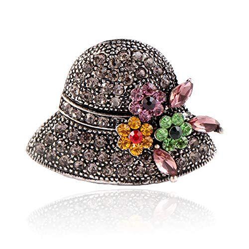 JUNGEN Broche de Sombrero con Rhinestone Broche Pins Bufandas Chal Clip para Las Mujeres Ropa Decoración de la Joyería