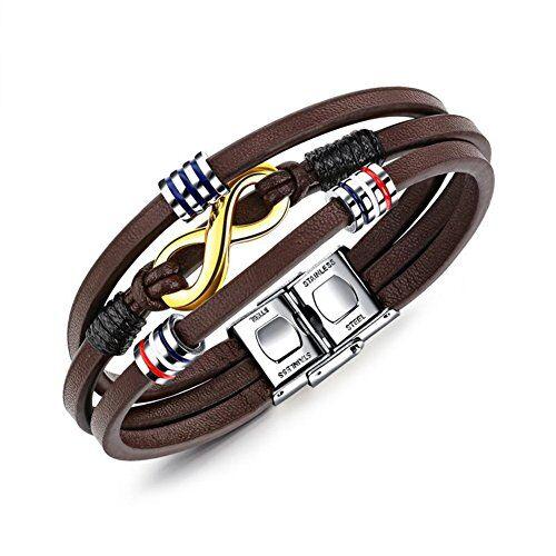 Aruie - Pulsera de cuero color marrón con complementos, símbolo 8 de infinito, cierre de acero inoxidable, joyería vintage de moda  para hombre