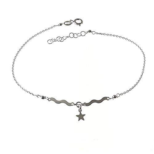 Minoplata Pulsera para Tobillo de Plata de Ley Olas y Estrella Colgante la Joya del Verano para Mujeres Que adoran los complementos de Moda