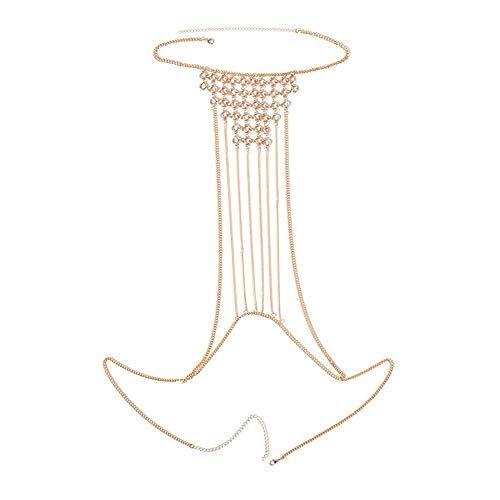 LASTARTS Joyería de Moda for Mujer Cadena de Pecho Hecha a Mano Cadena de Ropa Corporal Cadena de joyería de Vientre Cadena de Collar de Vientre (Color : Silver)