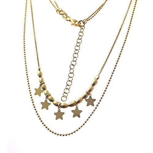 Minoplata Gargantilla Doble de Plata Dorada con Estrellas una Joya de Moda para una Mujer Que Adora los complementos sofisticados