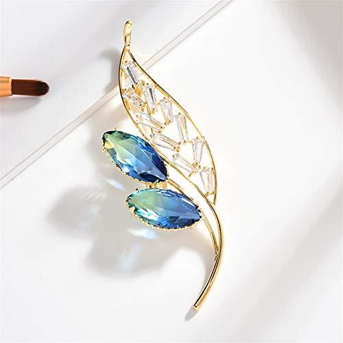 Clong01 Rhinestone Lleno broches de la Flor for Las Mujeres Ropa de época Decoración cristalino de la joyería Broche (Color : Blue)
