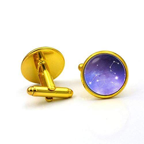 HPOZA Constelaciones para La Camisa De Los Hombres De Las Mujeres Gemelos Gemelos De Plata De La Boda del Color Oro Plateado Negocio De La Moda