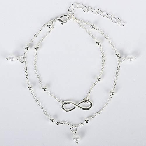 LovelysunshiDEany Moda Hot Pearl Tobillera Joyería Hembra Mano Cuentas Doble Cadena Calzado Calzado de Playa Moda Simple y generosa - Plata
