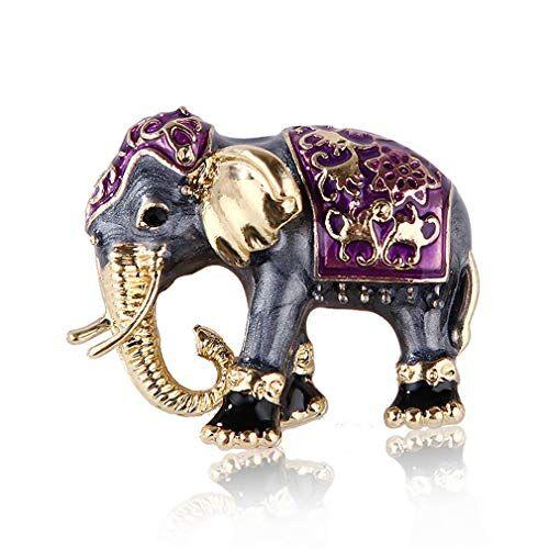 YAZILIND Elefante Broche Pasador exótico Estilo Gota Aceite Lindo Chic Hombres y Mujeres pechugla Ropa Corsage Accesorios de Fiesta de cumpleaños joyería (púrpura)
