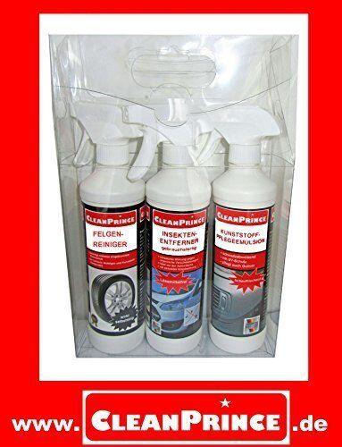 CleanPrince 3 Piezas Detergente Coches Y Motos Set de Cuidado desde la página inicio : 1 x 0,5 Litros Limpiador, 1 Ud. Emulsión plástico 0,5 litros, 1 Ud. Insektenentferner listo para su uso 0,5 = todo en el Geschenkeset embalado regalo Idea Licencia cond