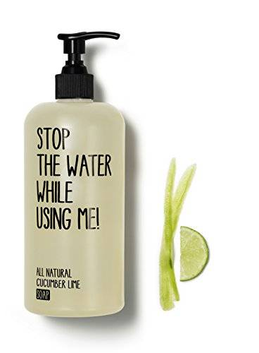 Stop The Water While Using Me! All Natural Cucumber Lime Soap 200ml, 100% biodegradables, hecha Natural cosmtico de Stop The Water while using Me. Jabn Lquido de sustancias naturales sin paraffine, sin silicona.
